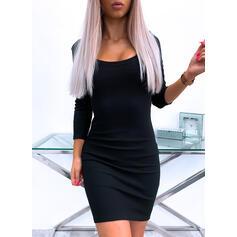 Solid/Backless Mâneci Lungi Conică Deasupra Genunchiului Negre/Casual Elbiseler
