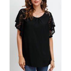 Lace Round Neck Short Sleeves Casual Elegant T-shirts