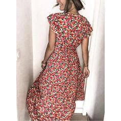 Impresión/Floral Manga Corta Acampanado Bolero/Patinador Casual Maxi Vestidos