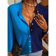 Color Block V-ringning 3/4 Ärmar Knäpp upp Fritids Skjorta Blusar