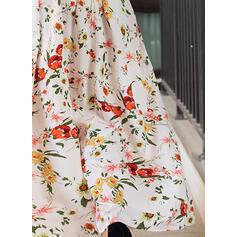 Imprimée/Fleurie Manches 3/4 Trapèze Patineuse Élégante Maxi Robes