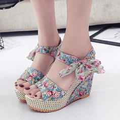 Women's PU Wedge Heel Sandals Platform Wedges Peep Toe With Lace-up shoes