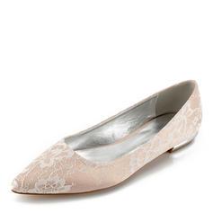 Women's Lace Leatherette Flat Heel Closed Toe Flats