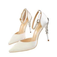 Femmes Satiné Talon stiletto Escarpins Bout fermé avec Talon de bijoux chaussures
