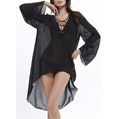 Solide Lange Mouwen Shift Asymmetrische Zwart jurkje/Casual/Vakantie Jurken