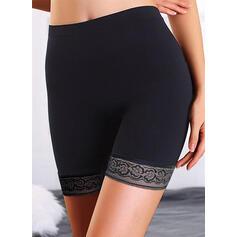 Solid Over kneet Avslappet Pluss størrelse Jacquard Shorts leggings