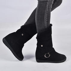 Women's Suede Flat Heel Boots With Buckle shoes