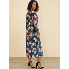 Print/Floral Long Sleeves A-line Casual/Elegant/Boho/Vacation Midi Dresses