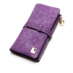 New Fashion 7 Colors Leather Zipper Wallet Women Wallets Drawstring Nubuck Women's Long Design Purse Two Fold More Color Clutch