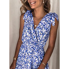 Floral Sleeveless A-line Above Knee Casual/Vacation Skater Dresses
