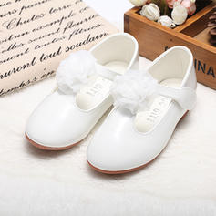Girl's Leatherette Flat Heel Round Toe Closed Toe Mary Jane Flower Girl Shoes With Satin Flower Velcro