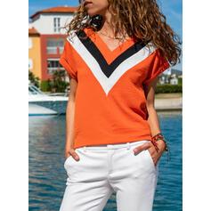 Color Block V-Neck Short Sleeves Casual T-shirts
