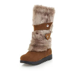Women's Suede Flat Heel Platform Boots Mid-Calf Boots Snow Boots With Buckle shoes