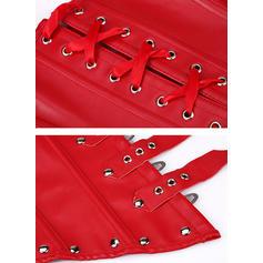Læder Solid color Korsetter & Bustier