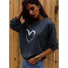 Print Hjerte One Shoulder Lange ærmer Sweatshirts