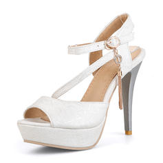 Women's Leatherette Stiletto Heel Sandals Platform Peep Toe With Buckle shoes