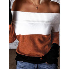 Color Block Off the Shoulder Casual Sweaters