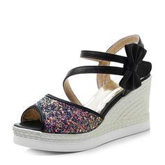 Suède Pailletes scintillantes Talon compensé Sandales Escarpins Compensée À bout ouvert Escarpins avec Bowknot Pailletes scintillantes chaussures