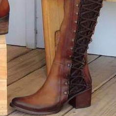 Γυναίκες Λείαντο Χοντρό φτέρνα Γοβάκια Μπότες Με Φερμουάρ παπούτσια