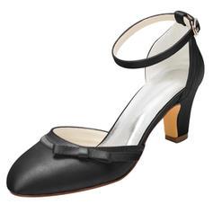 Women's Silk Like Satin Chunky Heel Closed Toe Pumps
