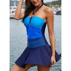 Splice color Halter Sexy Swimdresses Swimsuits