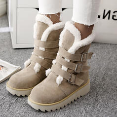 Femmes Suède Talon compensé Bottes neige Bottes d'hiver avec Boucle Couleur unie chaussures