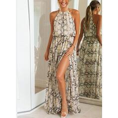 Animal Print Sleeveless A-line Casual/Vacation Maxi Dresses
