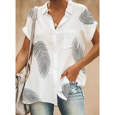 Stampa Risvolto Maniche corte Bottone Casuale Shirt and Blouses