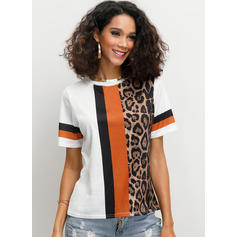 Color Block Animal Print Round Neck Short Sleeves Casual Knit T-shirts