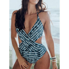 Stripe Halter Sexy Elegant Fashionable Attractive One-piece Swimsuits