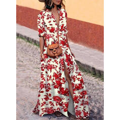 Print/Floral 1/2 Sleeves Shift Casual Maxi Dresses
