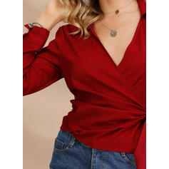 Solid Lapel Long Sleeves Casual Elegant Shirt Blouses