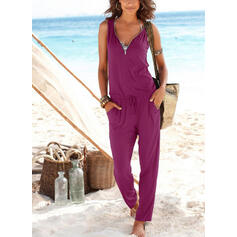 Solid V-Neck Sleeveless Casual Vacation Jumpsuit