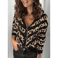 Χρωματιστό μπλοκ леопард V yaka Günlük Hırka