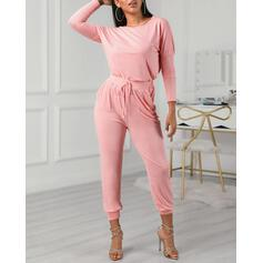 Round Neck Long Sleeves Solid Color Fashionable Top & Pants Sets