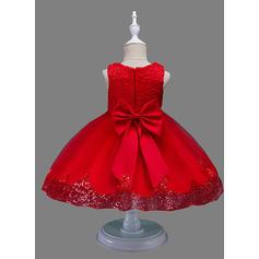 Chicas Cuello redondo Sólido Floral Encaje Lindo Fiesta Niña de las flores Vestido