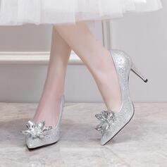 Femmes Similicuir Talon stiletto Escarpins Bout fermé avec Strass Cristal chaussures