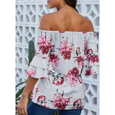 Print Off the Shoulder 1/2 Sleeves Casual Sexy Blouses