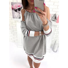 Solid/Striped Cold Shoulder Sleeve Shift Knee Length Casual Dresses