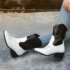 Frauen PU Stämmiger Absatz Stiefel Stiefel-Wadenlang Schuhe