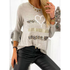 Print Leopard Heart Round Neck Long Sleeves Casual T-shirts