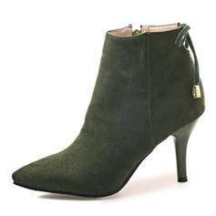 Femmes Suède Talon stiletto Escarpins Bottes Bottes mi-mollets avec Dentelle chaussures