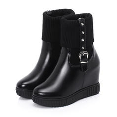 Women's Suede Leatherette Wedge Heel Pumps Boots Mid-Calf Boots Snow Boots With Rivet Buckle shoes