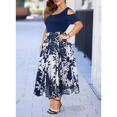 Print/Floral Short Sleeves A-line Skater Elegant Midi Dresses