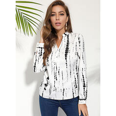 Stampa Scollatura a V Maniche lunghe Bottone Shirt and Blouses