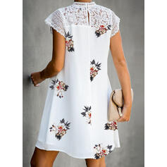 Lace/Print/Floral Short Sleeves Shift Above Knee Casual Tunic Dresses