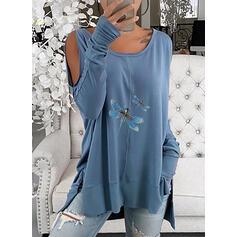 Dierenprint Cold Shoulder Lange Mouwen Casual Overhemd