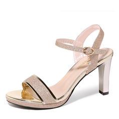 Women's Sparkling Glitter Spool Heel Peep Toe Sandals Slingbacks