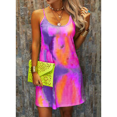 Tie Dye Sleeveless Shift Above Knee Casual/Vacation Slip Dresses