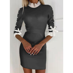 Color Block/Beaded 1/2 Sleeves Bodycon Above Knee Elegant Dresses